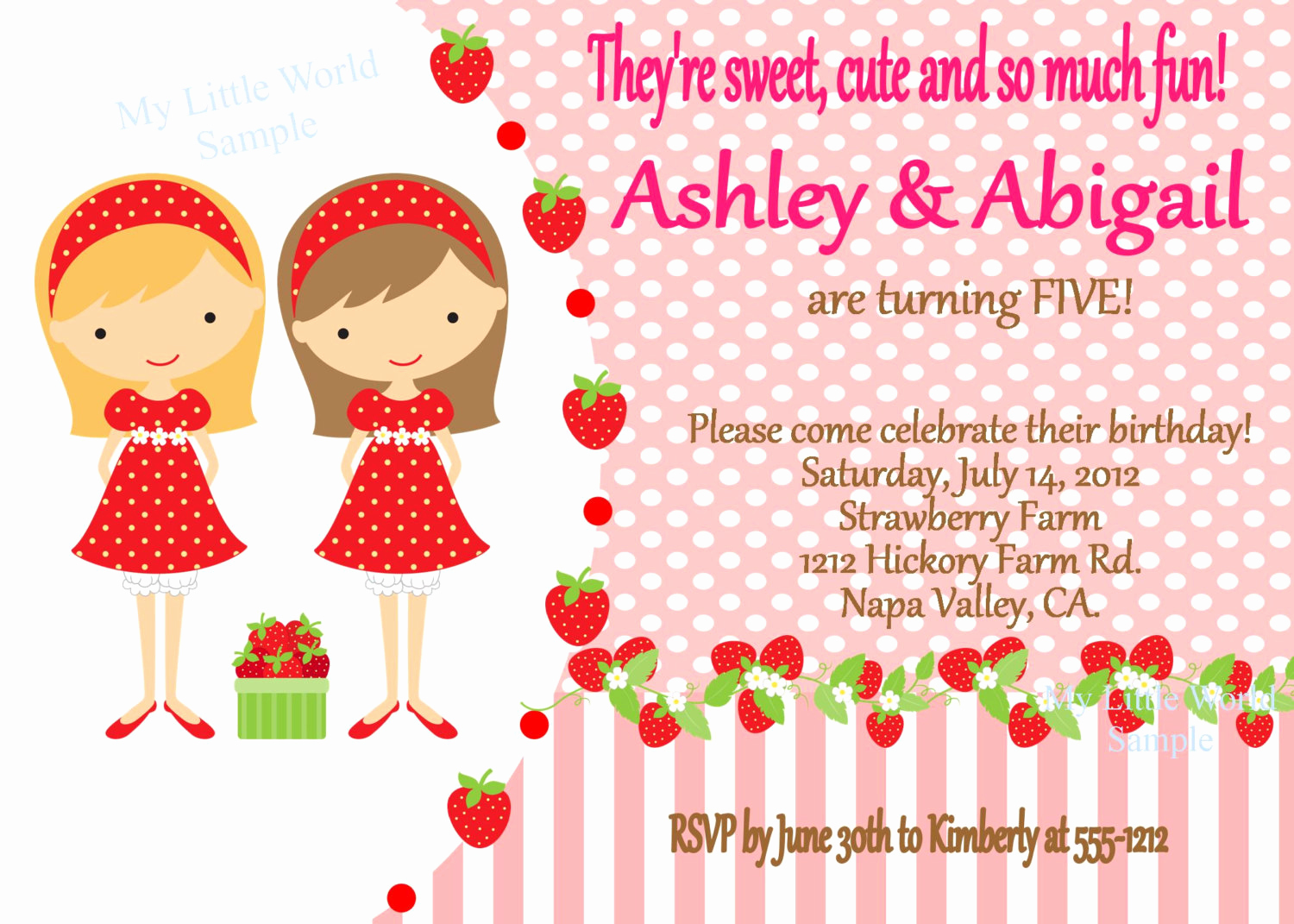 Strawberry Shortcake Invitation Templates Luxury Inspired Strawberry Shortcake Invitation Twin Invitations