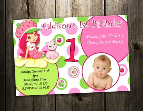 Strawberry Shortcake Invitation Templates Luxury Strawberry Shortcakes 1st Birthday Invitation Free