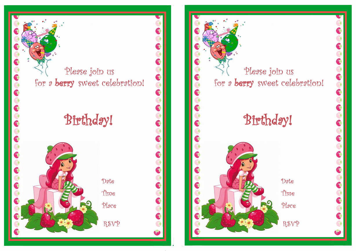 Strawberry Shortcake Invitation Templates New Strawberry Shortcake Birthday Invitations