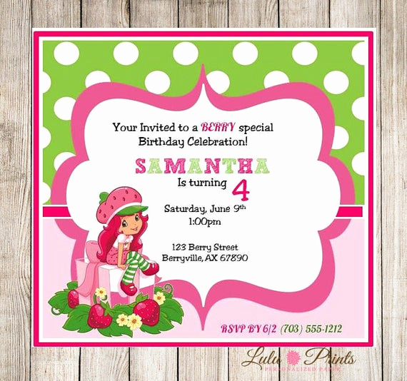 Strawberry Shortcake Invitation Templates New Strawberry Shortcake Printable Invitation by Lulupaperprints