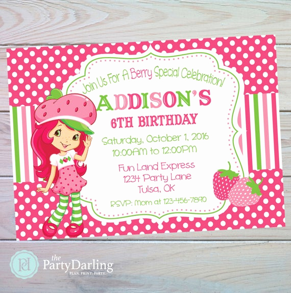 Strawberry Shortcake Invitation Templates Unique Strawberry Shortcake Invitation