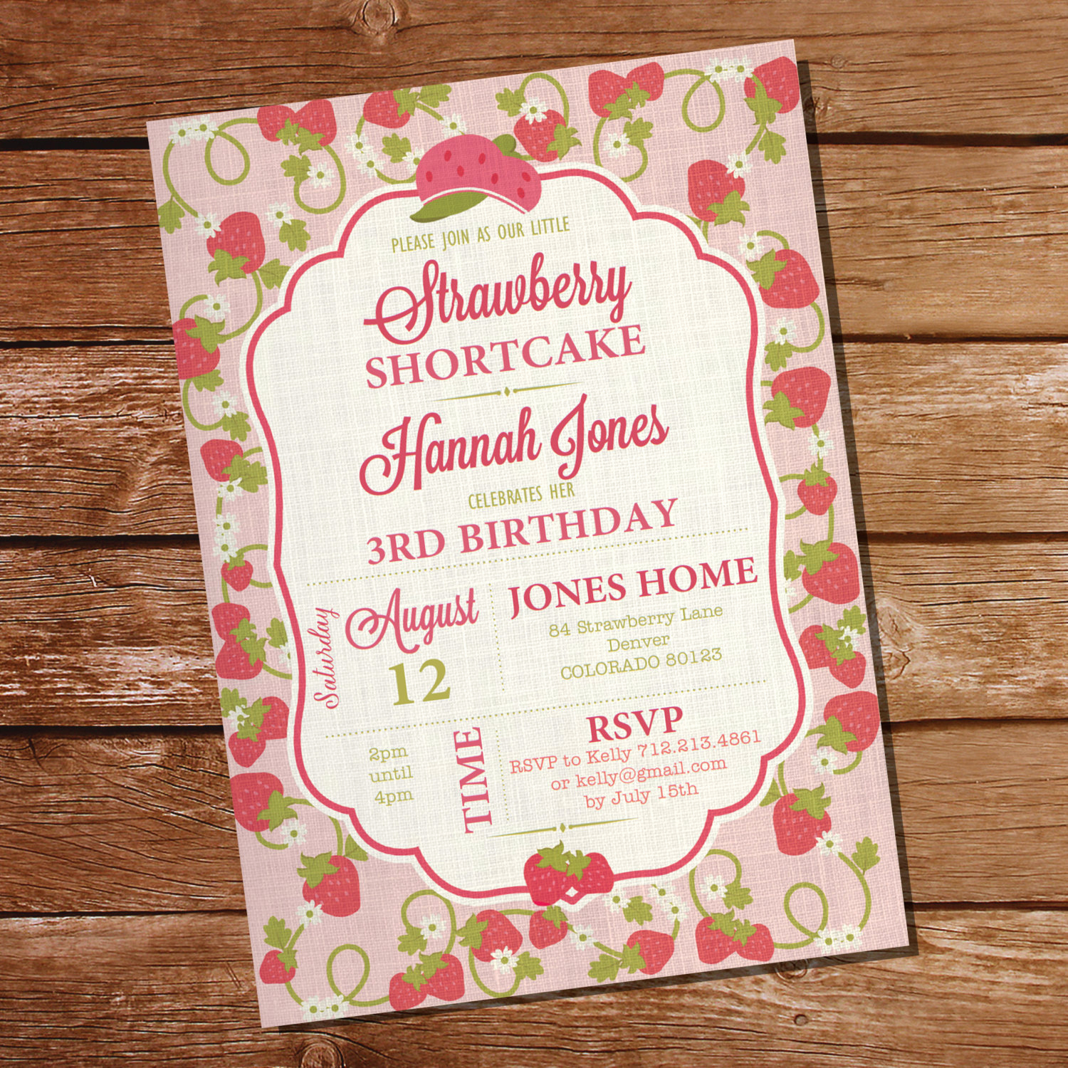Strawberry Shortcake Invitation Templates Unique Strawberry Shortcake Party Invitation for A Girl Instant