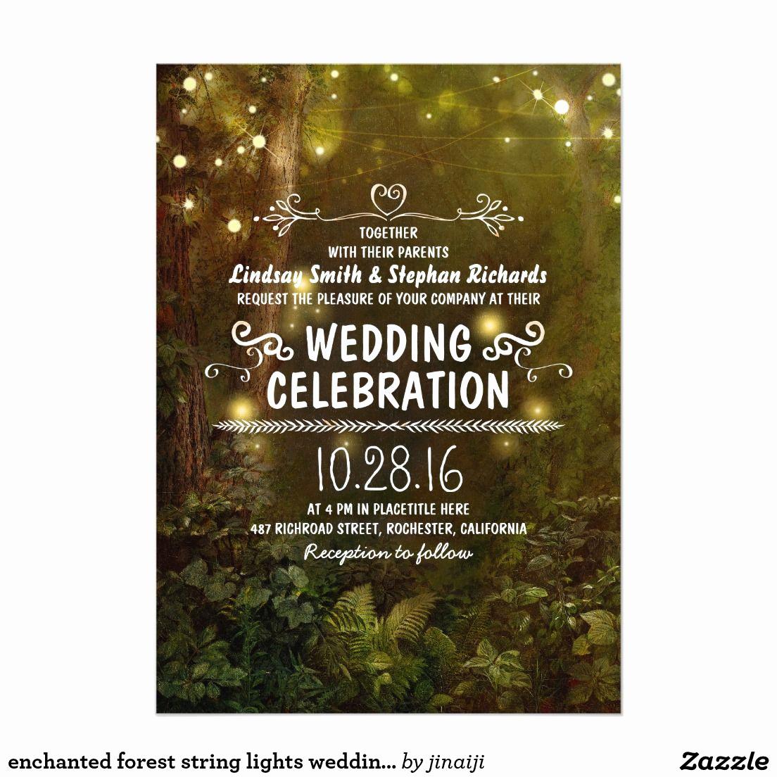 String Lights Wedding Invitation Beautiful Enchanted forest String Lights Wedding Invitations