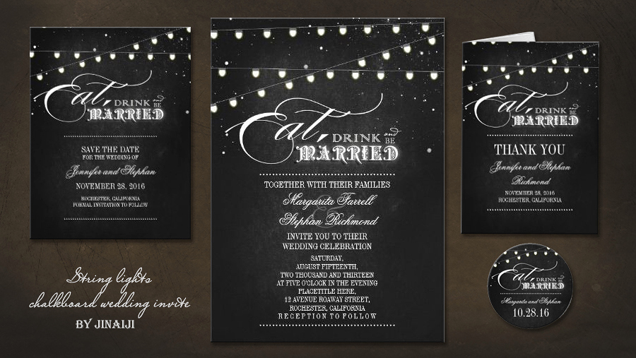 String Lights Wedding Invitation Beautiful Read More – Chalkboard String Lights Eat Drink and Be