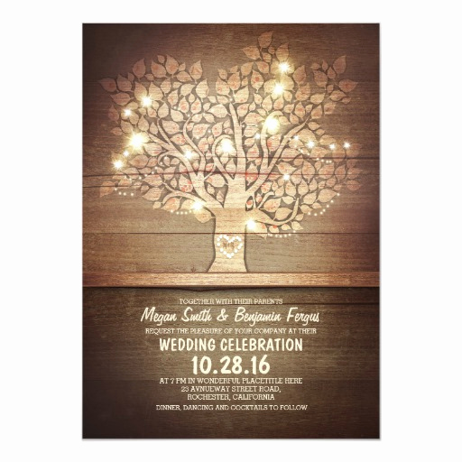 String Lights Wedding Invitation Beautiful String Lights & Rustic Tree Wedding Invitations