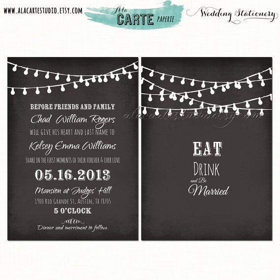 String Lights Wedding Invitation Best Of Items Similar to String Light Chalkboard Inspired Wedding