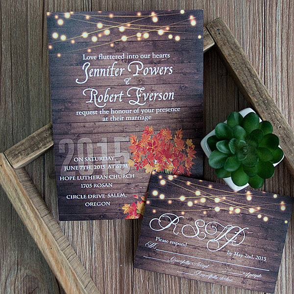 String Lights Wedding Invitation Best Of New Released Fall Wedding Invitations for Autumn Brides 2015