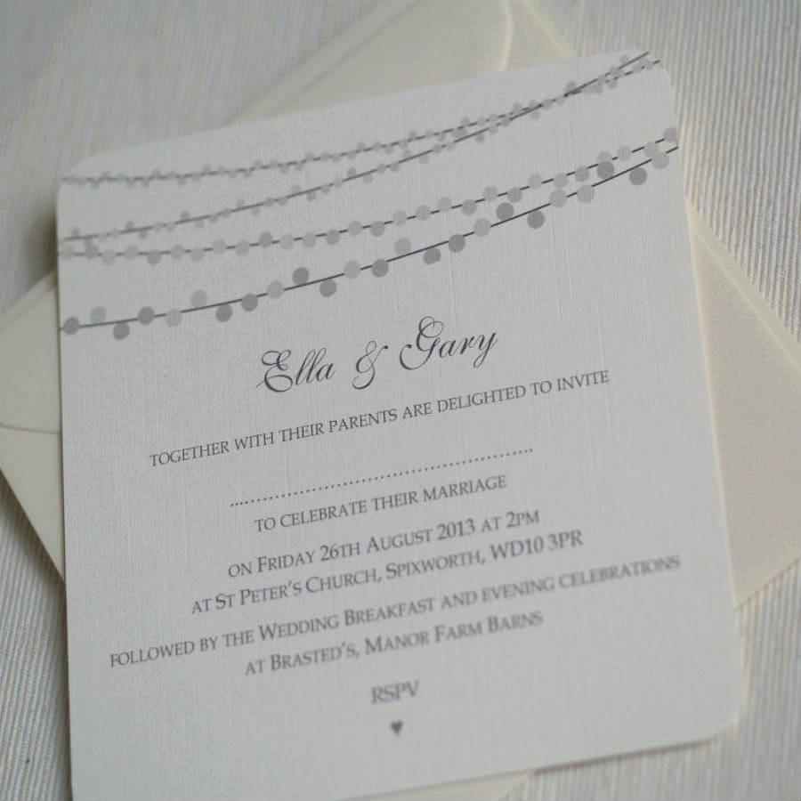 String Lights Wedding Invitation Elegant String Lights Design Wedding Invitations by Beautiful Day