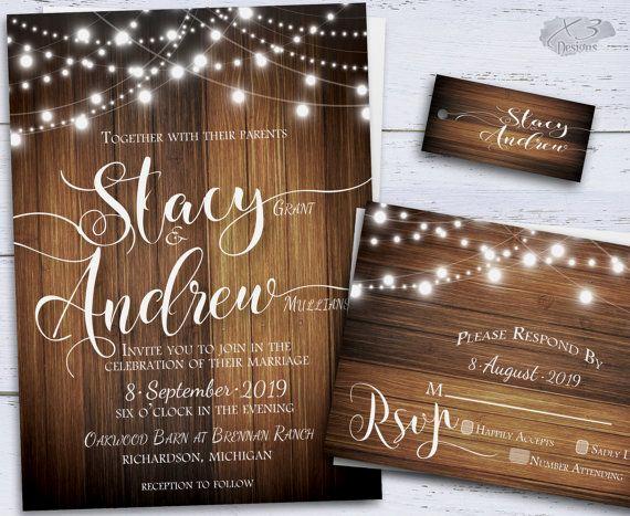 String Lights Wedding Invitation Lovely Rustic Wedding Invitation Country Diy Printable Wedding