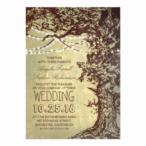 "String Lights Wedding Invitation New Rustic Tree & String Lights Wedding Invitations 5"" X 7"