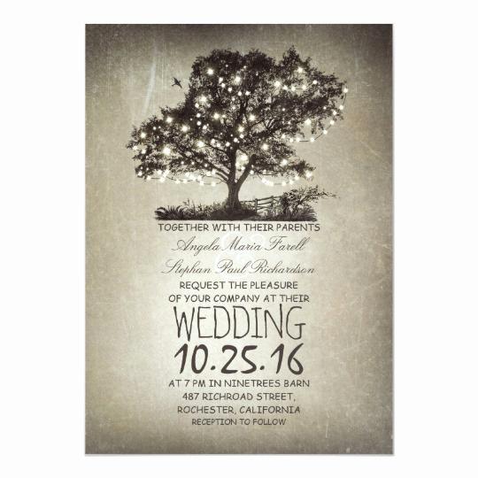 String Lights Wedding Invitation New Rustic Tree & String Lights Wedding Invitations