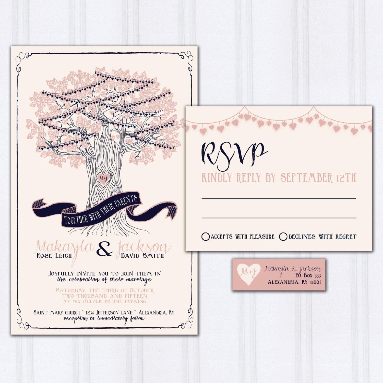 String Lights Wedding Invitation New String Light Wedding Invitations Tree Wedding Invites Navy