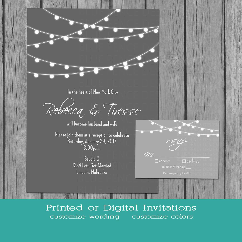 String Lights Wedding Invitation Unique String Lights Wedding Invitation Simple Gray and White