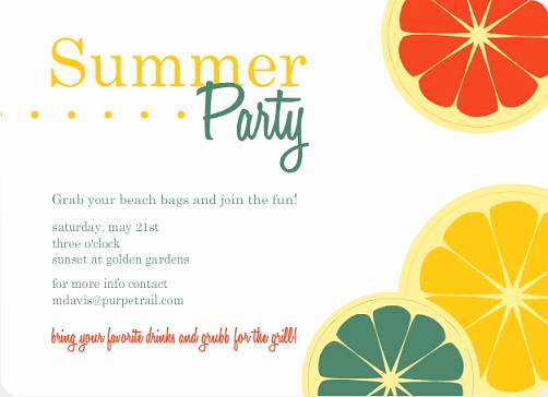 Summer Party Invitation Wording New Summer Party themes