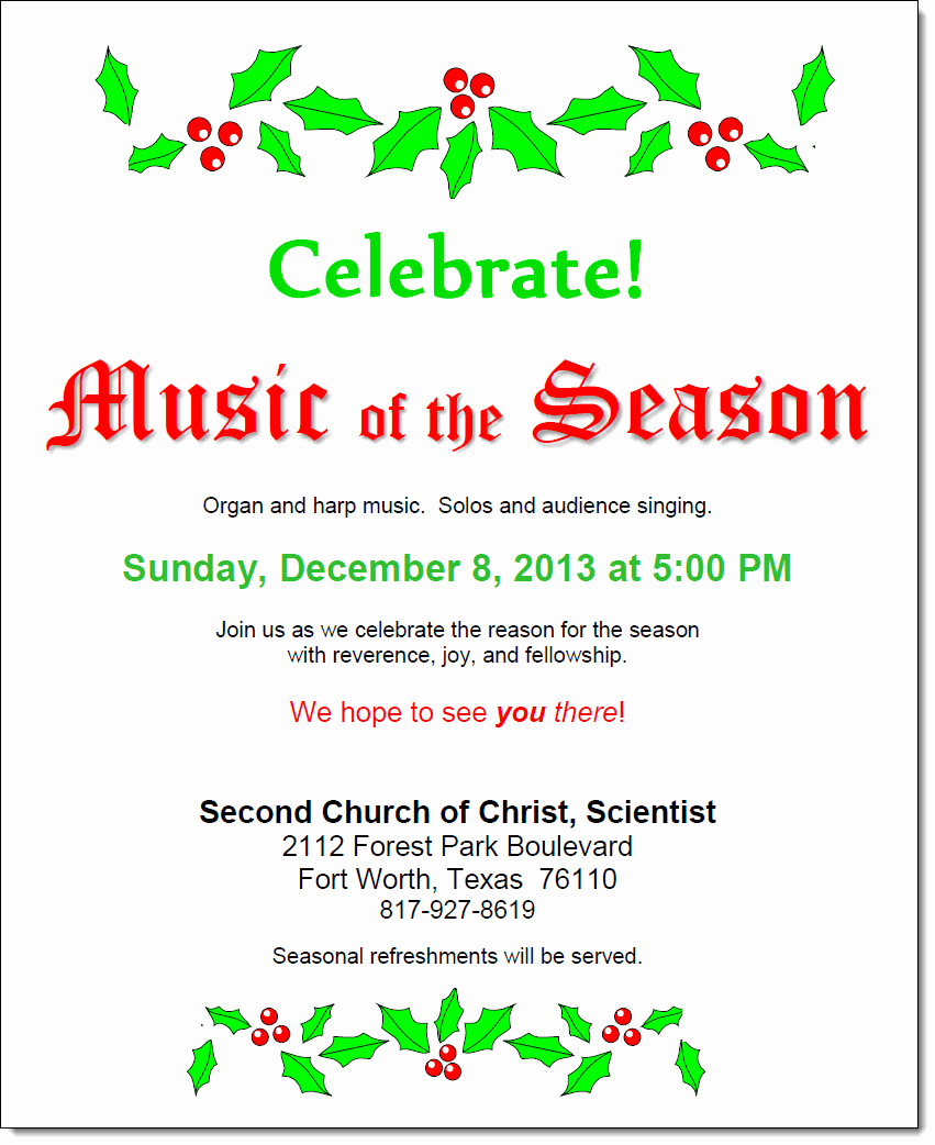Sunday School Invitation Flyer Best Of Second Church Of Christ Scientist