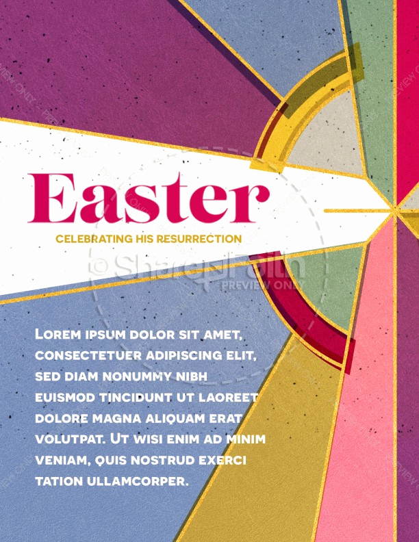 Sunday School Invitation Flyer Elegant Stained Glass Easter Church Flyer