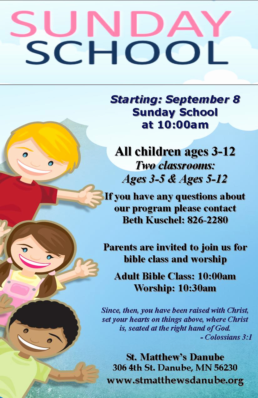 Sunday School Invitation Flyer Fresh Fall Schedule – Begins September 8