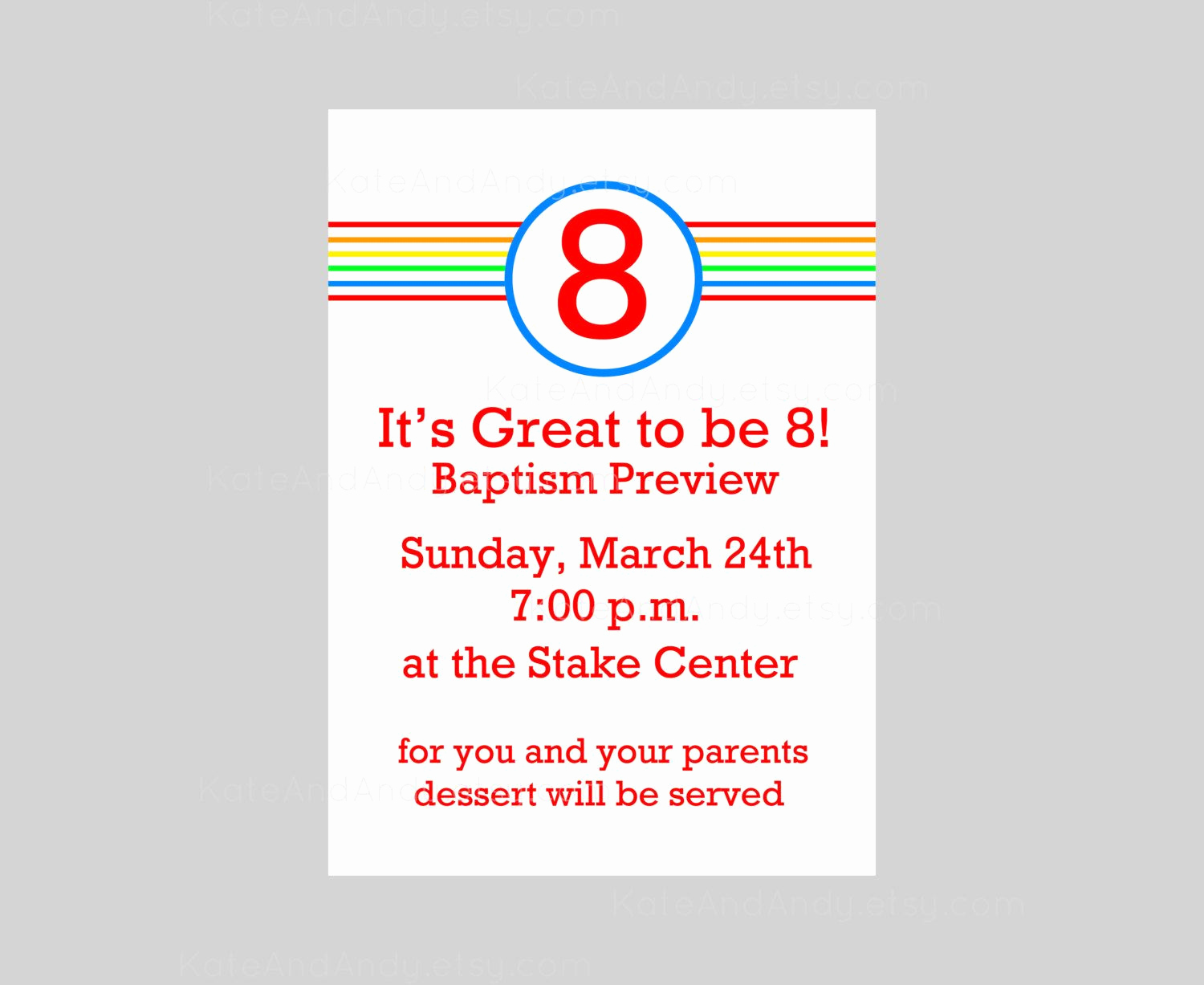 Sunday School Invitation Ideas New Striped Great to Be 8 Invitation Printable Baptism Preview