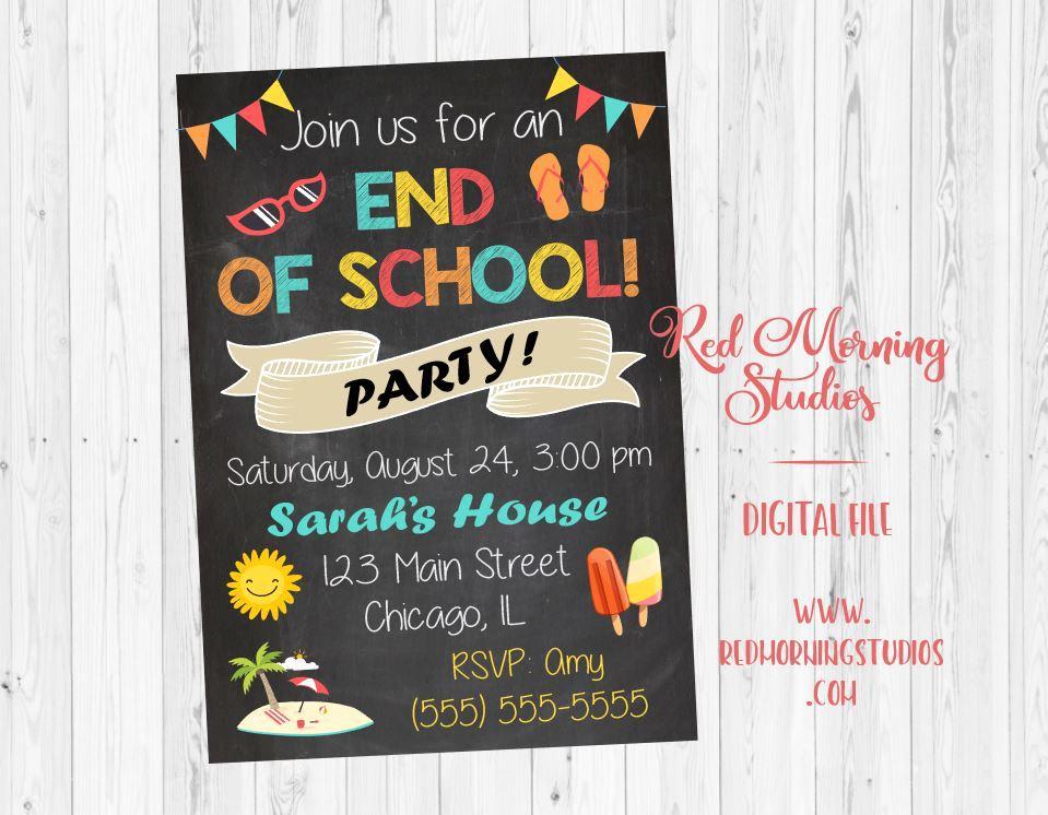 Sunday School Invitation Ideas Unique End Of School Party Invitation Printable – Red Morning