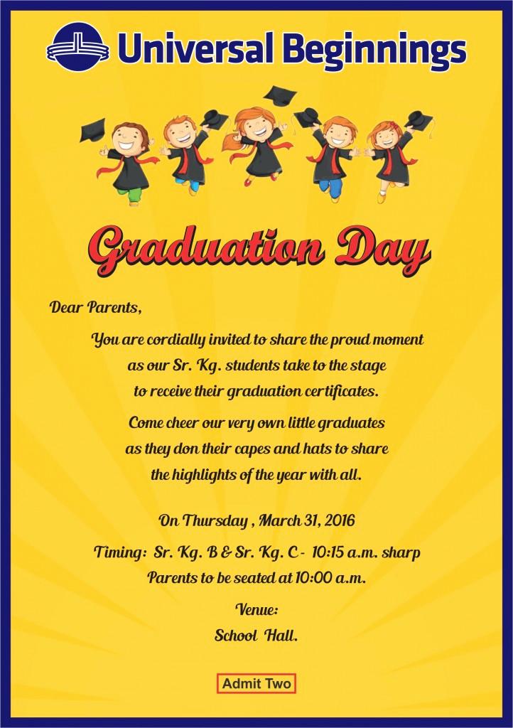 Sunday School Invitation Letter Beautiful Sr Kg B & Sr Kg C – Invitation for Graduation Day