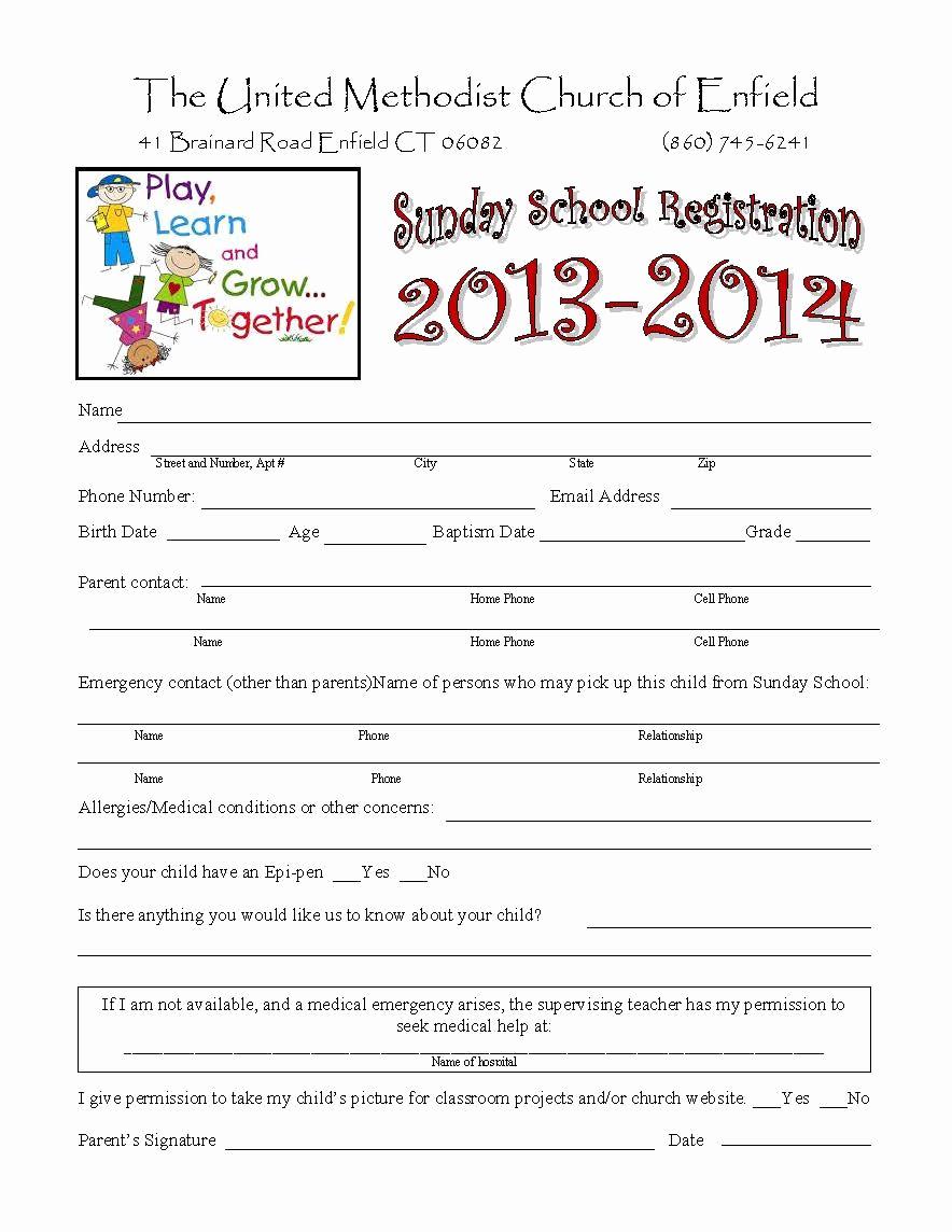 Sunday School Invitation Letter Fresh Sunday School Registration form Biz Card