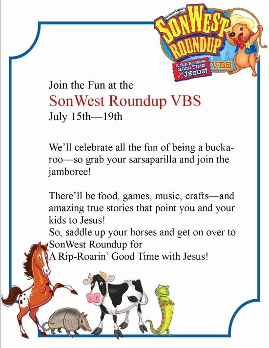 Sunday School Invitation Letter Inspirational Pre Registration sonwest Roundup Vbs