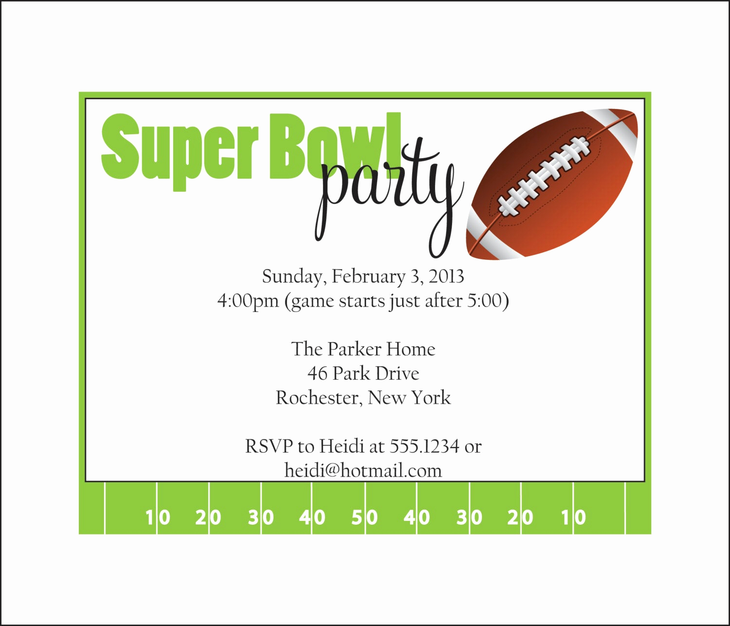 Super Bowl Invitation Ideas Inspirational Super Bowl Party Invitation Set Of 10 by Simplystampedinvites