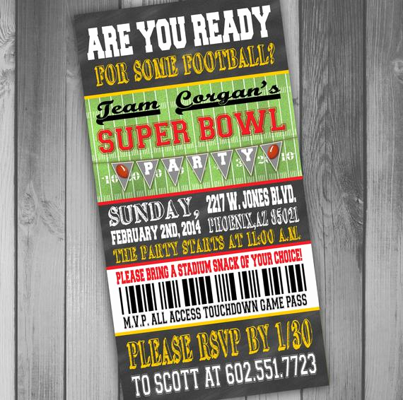 Super Bowl Invitation Ideas Inspirational Superbowl Party Invitation Ticket Invitation Football
