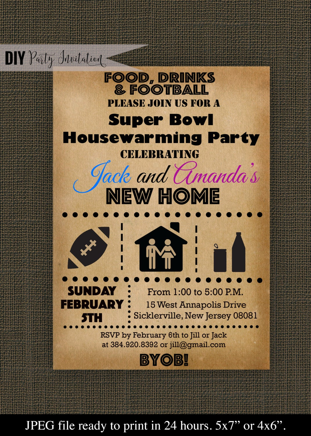 Super Bowl Invitation Ideas New Super Bowl Housewarming Party Invitation by Diypartyinvitation