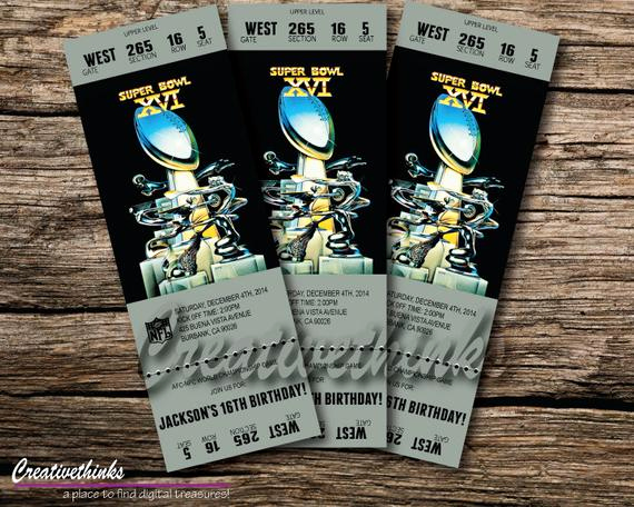 Super Bowl Invitation Template Best Of 1982 Super Bowl Inspired Printable Ticket by Creativethinks