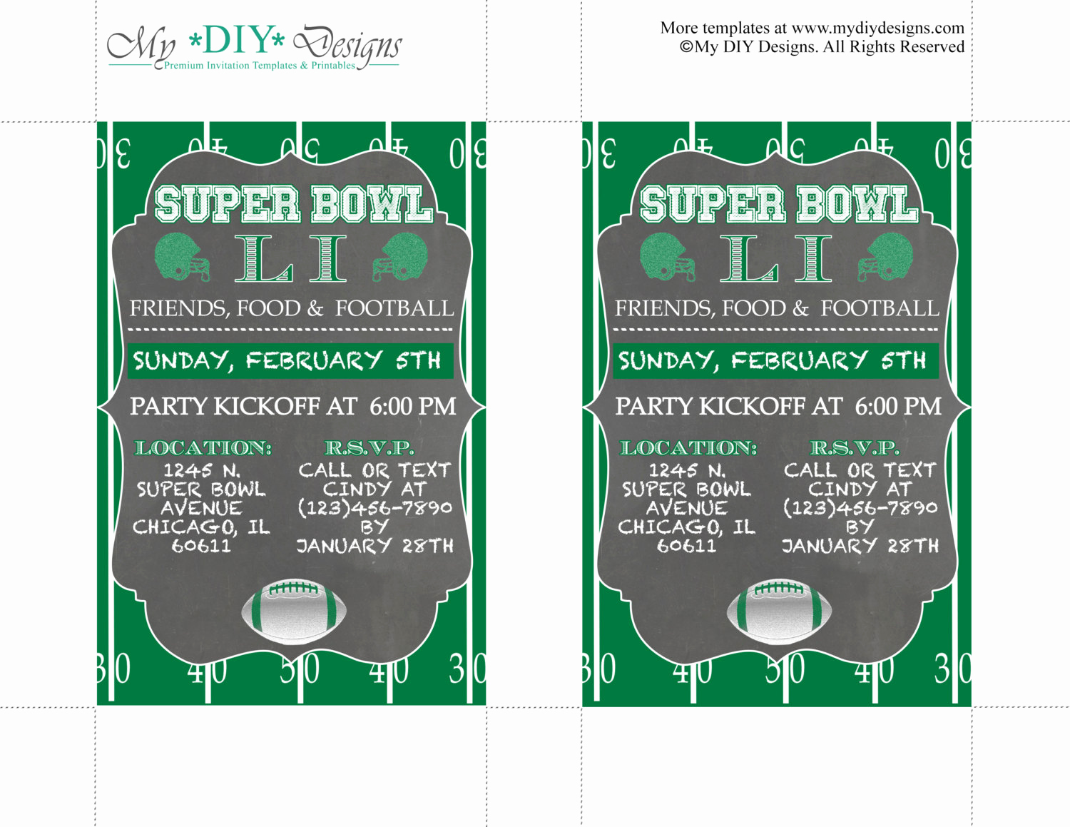 Super Bowl Invitation Template Elegant Chalkboard Super Bowl Invitation Editable Template