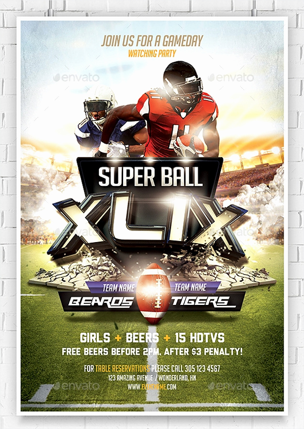 Super Bowl Invitation Template Lovely 21 Super Bowl Invitation Designs Psd Vector Eps Jpg
