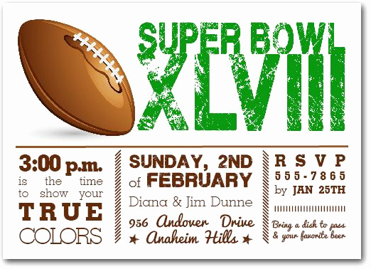 Super Bowl Invitation Template Lovely Football Super Bowl Invitations Super Bowl Xlviii Party