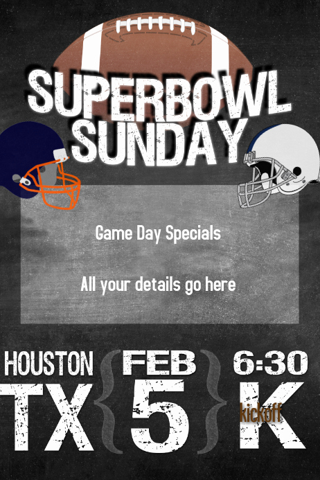 Super Bowl Invitation Template Lovely Superbowl Sunday Football Party Poster Flyer Invitation