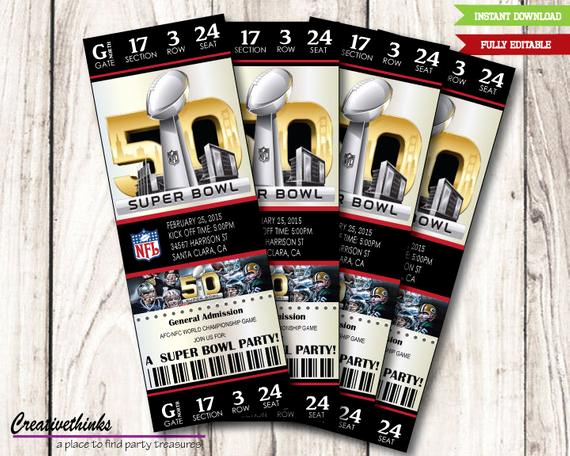 Super Bowl Invitation Template New Editable 2016 50th Super Bowl Inspired Printable by