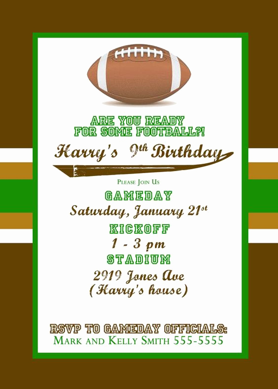 Super Bowl Party Invitation Template Awesome Football Football Parties and themed Birthday Parties On