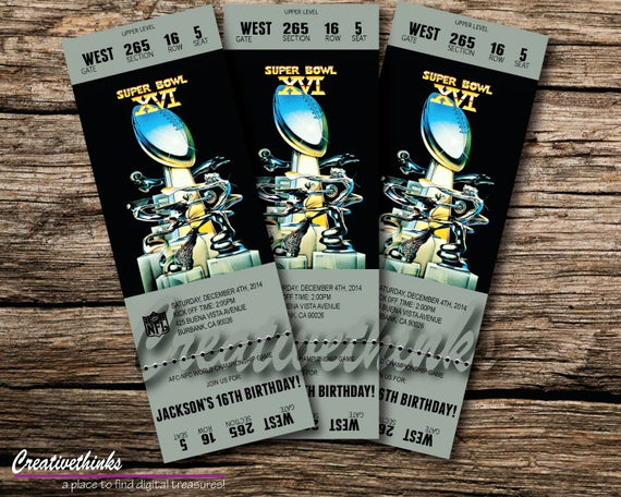 Super Bowl Party Invitation Template Beautiful 1982 Super Bowl Inspired Printable Ticket by Creativethinks