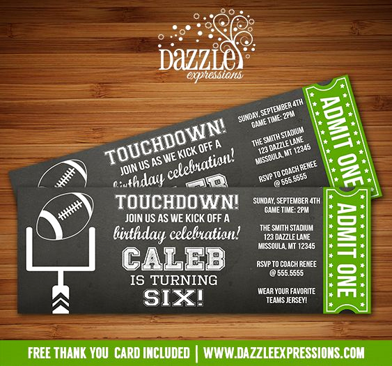 Super Bowl Party Invitation Template Beautiful Printable Chalkboard Football Ticket Birthday Invitation