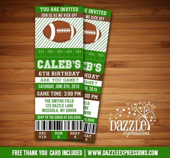 Super Bowl Party Invitation Template Fresh Printable Football Ticket Birthday Invitation