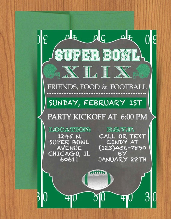 Super Bowl Party Invitation Template Inspirational Chalkboard Super Bowl Invitation Editable by Mydiydesigns