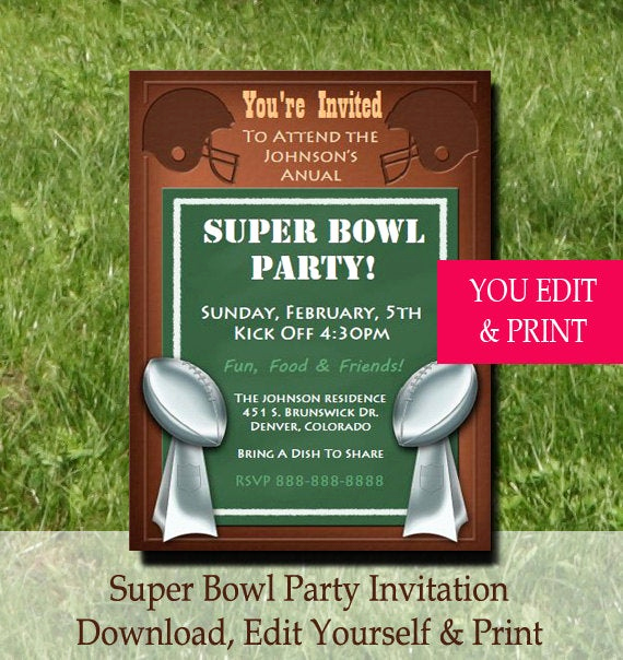 Super Bowl Party Invitation Template Lovely Super Bowl Party Invitation Super Bowl Invitation