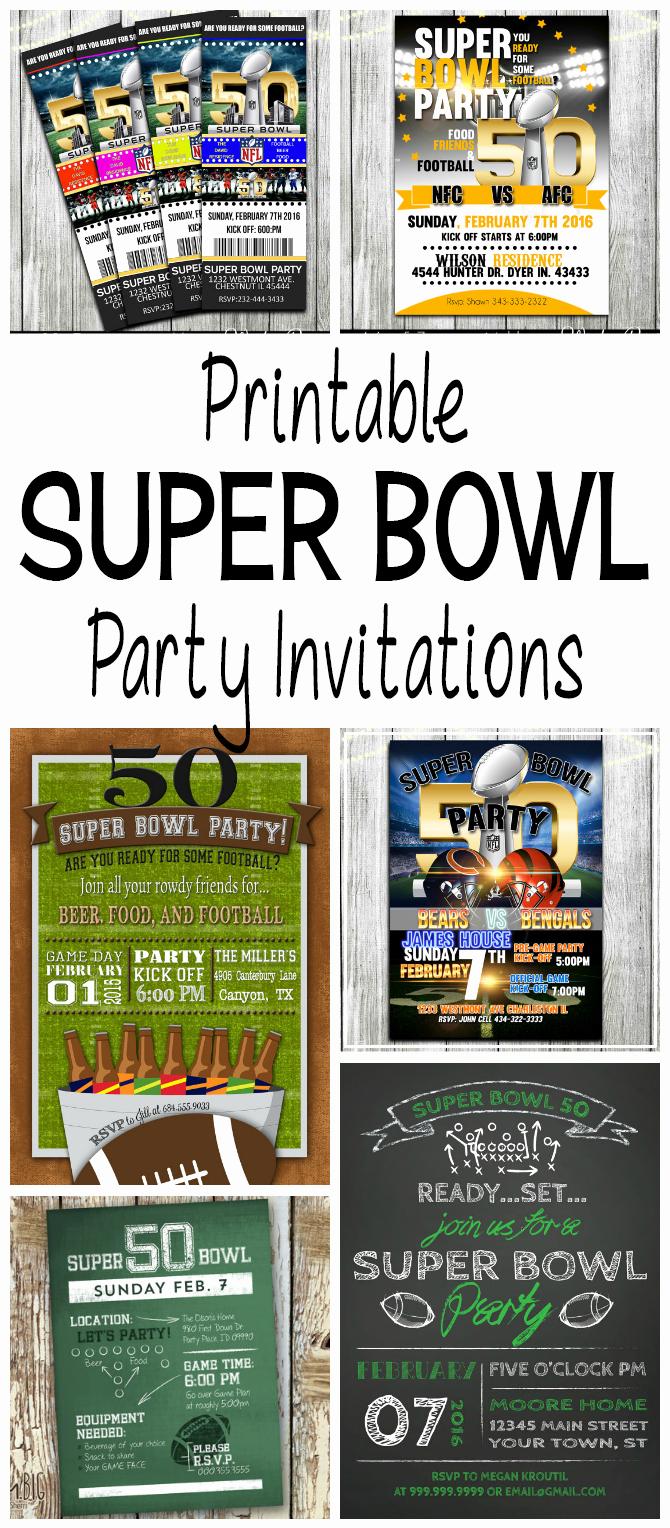 Super Bowl Party Invitation Template New Super Bowl 50 Printable Football Party Invitations