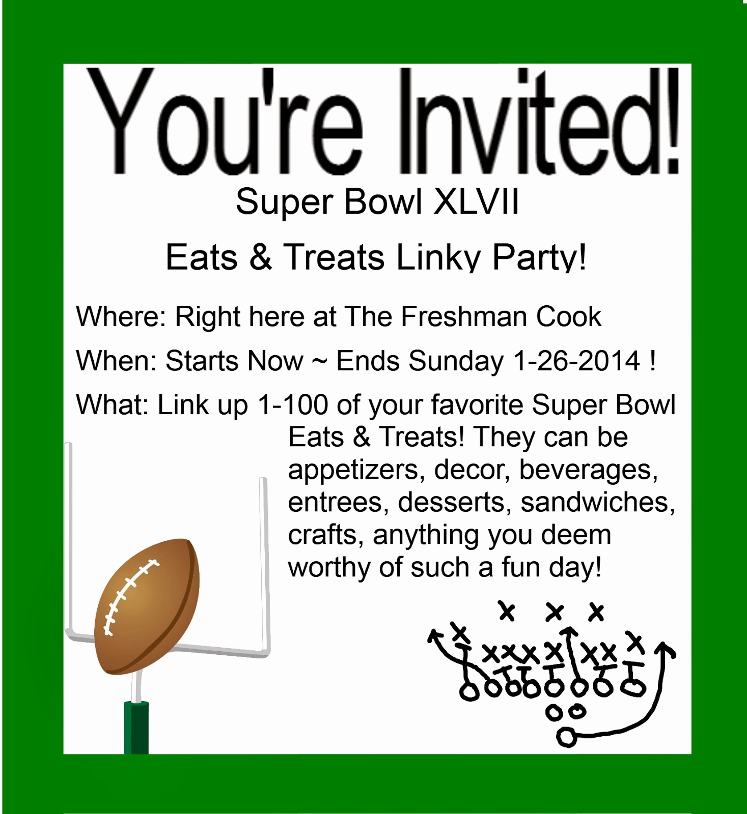 Super Bowl Party Invitation Template New the Freshman Cook Super Bowl Linky Party