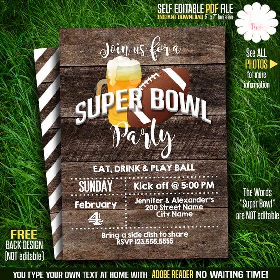 Super Bowl Party Invitation Template Unique Super Bowl Party Invitation Printable Beer and Football