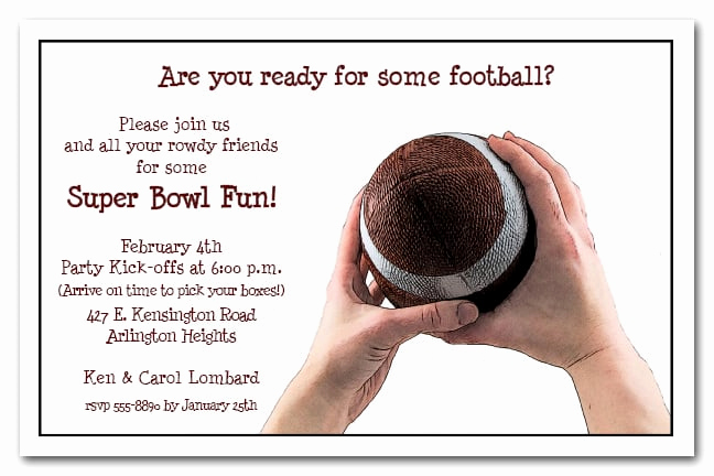 Super Bowl Party Invitation Wording Beautiful Football Catch Super Bowl Party Invitations