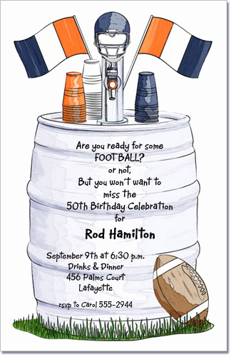 Super Bowl Party Invitation Wording Elegant Beer Keg with orange and Blue Football Helmet Invitation