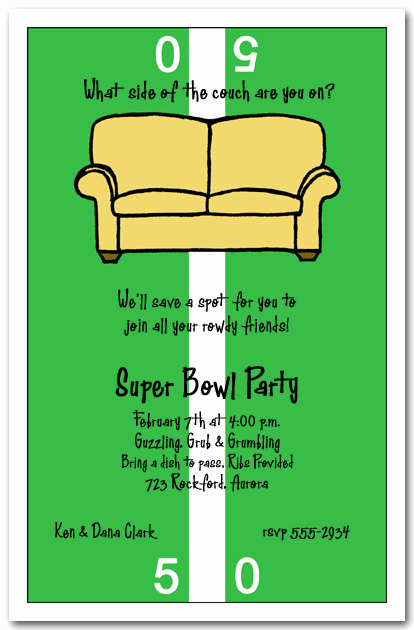 Super Bowl Party Invitation Wording Fresh Fifty Yard Line Couch Super Bowl Party Invitation