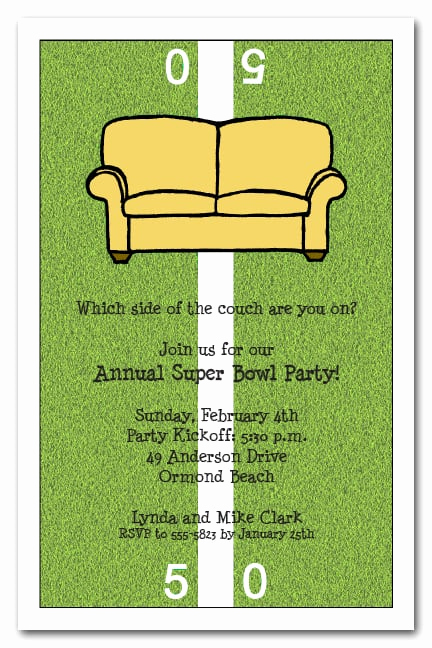 Super Bowl Party Invitation Wording Fresh Fifty Yard Line Couch Super Bowl Party Invitations