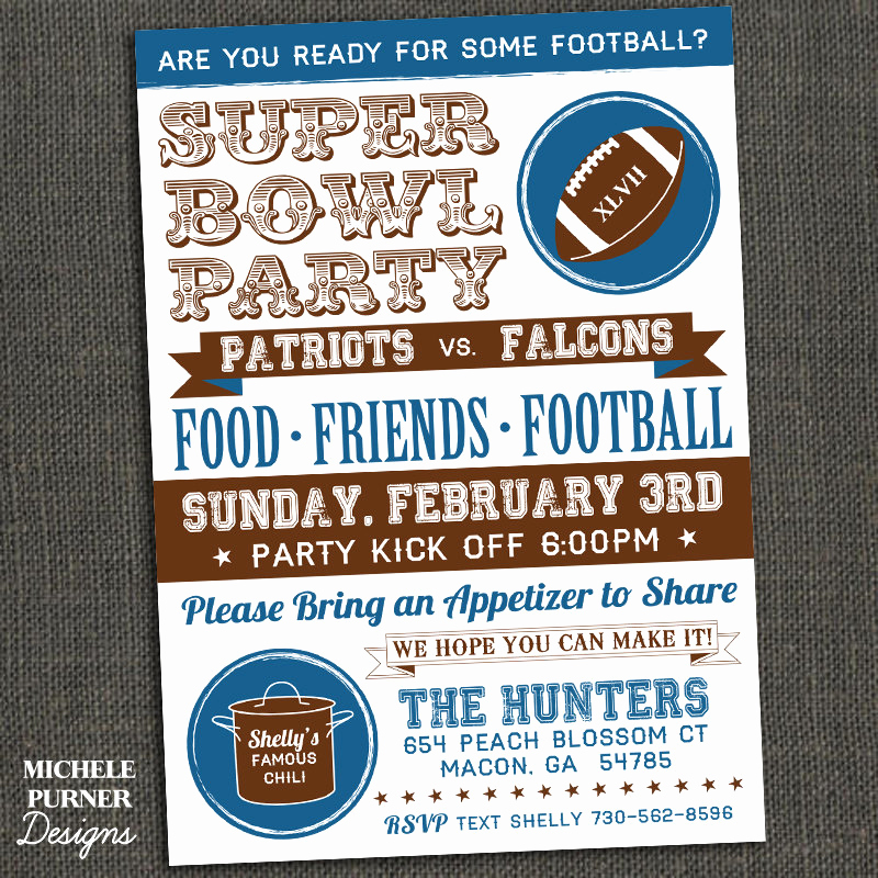 Super Bowl Party Invitation Wording Inspirational Michele Purner Designs