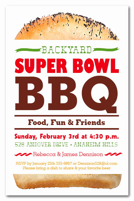 Super Bowl Party Invitation Wording Inspirational Tall Hamburger Bbq Super Bowl Party Invitations